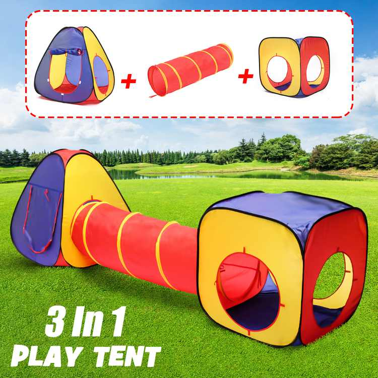 Folding Kids Play Tent Tunnel Set Three In One Kid Ball Pool Tent Children Kids Ocean Ball Pit Play House Indoor Outdoor