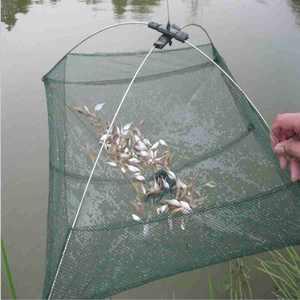 Generic 24 In. x 24 In. Umbrella Mesh Trap Crab Shrimp Minnows Cast Dip Net Bait Cast Lures Fishing Net Cage for Fishermen