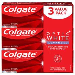 Colgate Optic White Advanced Teeth Whitening Toothpaste, Sparkling White, 3.2 Oz, 3 Ct
