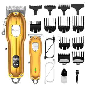 Surker Mens Hair Clipper Professional Hair Trimmer Barber Clipper Set Beard Trimmer Cordless Hair Cutting Grooming Kit LED Display USB Rechargeable