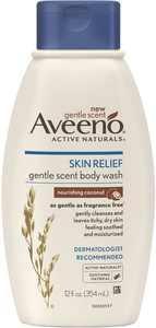 AVEENO Active Naturals Skin Relief Gentle Scent Body Wash, Nourishing Coconut 12 oz (Pack of 2)