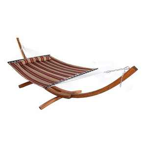 Sunnydaze Quilted Double Fabric 2-Person Hammock with Curved Arc Wood Stand - 400 lb Weight Capacity/13' Stand - Red Stripe