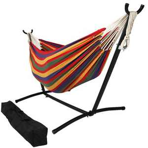 Sunnydaze Indoor/Outdoor Portable Brazilian Double Hammock with Stand and Carrying Pouch - 400 lb Weight Capacity - Tropical