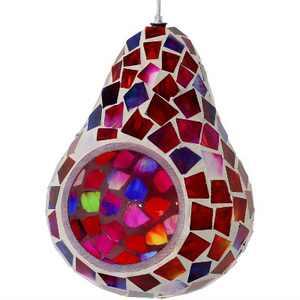 "Ruby Mosaic Glass Hanging Bird Feeder - Red - 6"" - Sunnydaze Decor"