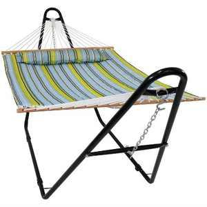 Sunnydaze 2-Person Heavy-Duty Double Quilted Hammock with Multi-Use Universal Steel Stand - 450 lb Weight Capacity - Blue and Green Striped