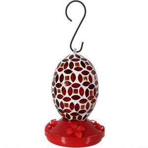 "Sunnydaze Decor 18-Ounce Mosaic Glass Hummingbird Feeder - Red - 7"""