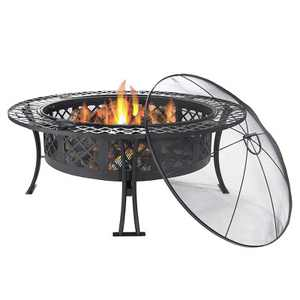 """Sunnydaze Outdoor Camping or Backyard Steel Diamond Weave Fire Pit Bowl with Spark Screen - 40"""" - Black"""