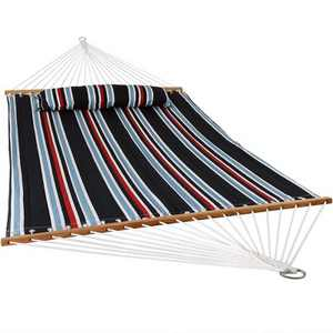 Nautical Stripe Quilted Double Fabric Hammock - Blue/Red/White - Sunnydaze Decor