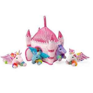 HearthSong - Kids Portable Plush Unicorn Fantasy Set with 4 Plush Unicorns & Castle