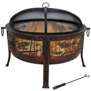 """Sunnydaze Outdoor Camping or Backyard Steel Northwoods Fishing Fire Pit with Spark Screen - 30"""" - Bronze"""