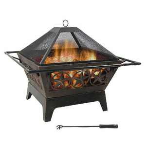 "Northern Galaxy 30"" Wood Burning Fire Pit - Square - Sunnydaze Decor"