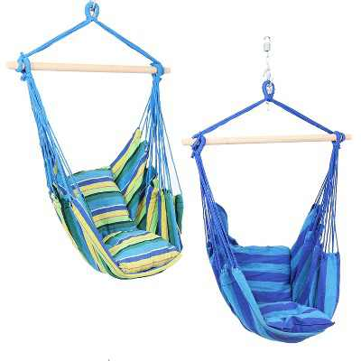 2 Hammock Chair Swings with Pillows - Ocean Breeze/Oasis - Sunnydaze Decor
