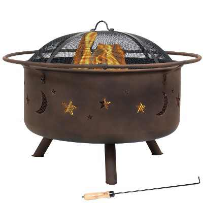 """Sunnydaze Outdoor Camping or Backyard Round Cosmic Stars and Moons Fire Pit with Cooking Grill Grate, Spark Screen, and Log Poker - 30"""""""