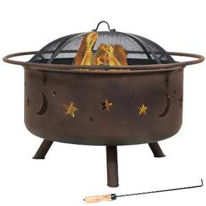 """Cosmic Stars and Moon 30"""" Wood Burning Fire Pit With Cooking Grill - Round - Sunnydaze Decor"""