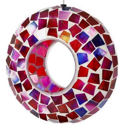 "Sunnydaze Decor Crimson Mosaic Glass Fly-Through Bird Feeder - Red - 7"""