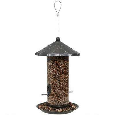 "Sunnydaze Decor Wild Bird Seed Feeder with Acorn Style Roof - Gray - 13"""