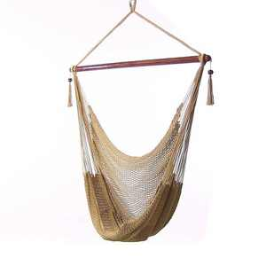 Caribbean Hanging Rope Hammock Chair - Tan - Sunnydaze Decor