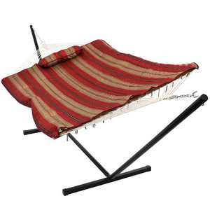 Sunnydaze Cotton Rope Freestanding Hammock with Spreader Bar with Portable Steel Stand and Pad and Pillow Set - 12' Stand - Awning Stripe