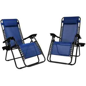 Zero Gravity Lounge Chair with Pillow and Cup Holder - Set of 2 - Navy Blue - Sunnydaze Decor