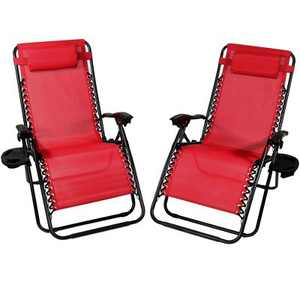 Sunnydaze Oversized Folding Fade-Resistant Outdoor XL Zero Gravity Lounge Chairs with Pillow and Cup Holder - Red - 2-Pack
