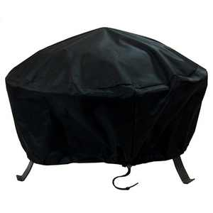 """Sunnydaze Outdoor Heavy-Duty Weather-Resistant Vinyl PVC Round Fire Pit Cover with Drawstring Closure - 30"""" - Black"""
