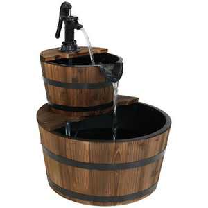 "Sunnydaze 23""H Electric Fir Wood 2-Tier Farmhouse Barrel with Metal Decorative Hand Pump Outdoor Water Fountain"