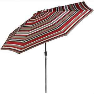Aluminum Market Tilt Striped Patio Umbrella 9' - Awning Stripe - Sunnydaze Decor