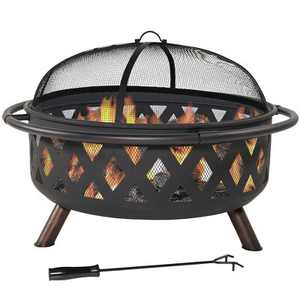 "Black Crossweave 36"" Wood Burning Fire Pit Bowl - Round - Sunnydaze Decor"
