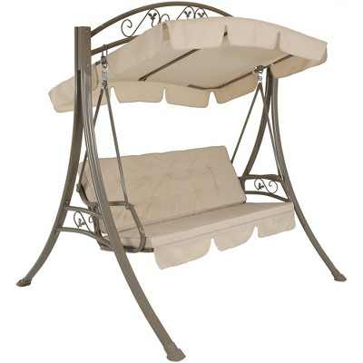 Deluxe 3-Seat Steel Frame Patio Swing with Cushions and Canopy - Beige - Sunnydaze Decor