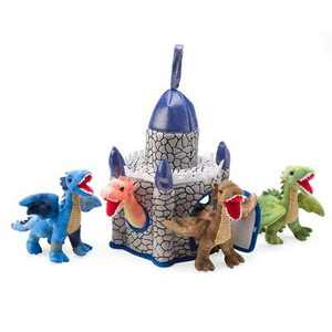 "HearthSong - Plush Dragon Portable Play Set, Includes Four 6""H Winged Dragons and 12""H x 8"" Sq. Castle, for Kids' Imaginative Play"