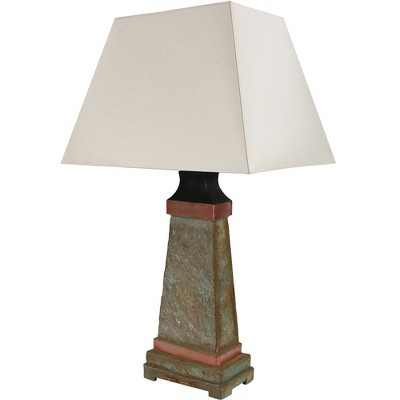 Copper Trimmed Slate Indoor/Outdoor Table Lamp - Sunnydaze Decor