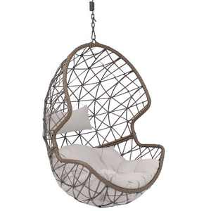 Sunnydaze Outdoor Resin Wicker Patio Danielle Hanging Basket Egg Chair Swing with Cushion and Headrest - Gray - 2pc
