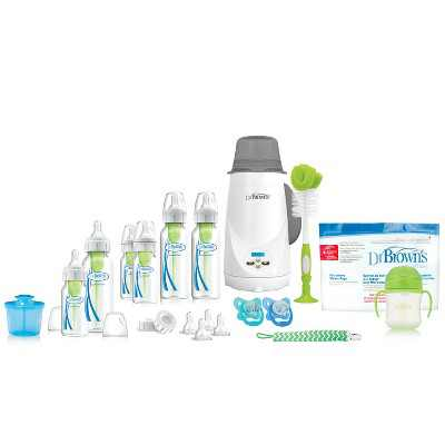 Dr. Brown's Options+ All-in-One Anti-Colic Baby Bottle and Bottle Warmer Newborn Gift Set