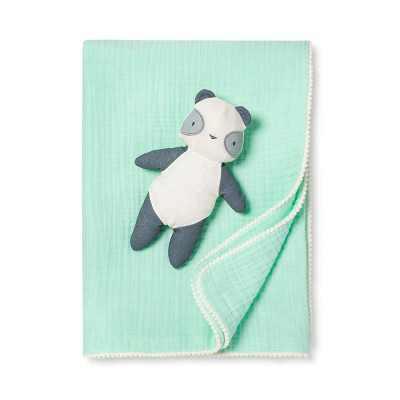 Gauze Baby Swaddle Blanket & Plush Panda - Cloud Island™ Joyful Mint