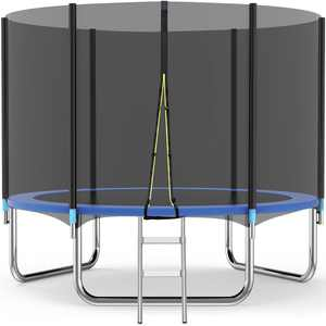 Famistar 10FT Trampoline with Safety Enclosure Net, 331lbs Capacity for Kids and Teens, Outdoor Fitness Trampoline with Waterproof Jumping Mat, Spring Cover Padding and Ladder, CE, GS, EN71 Approved