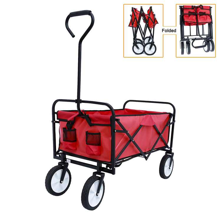 """Collapsible Outdoor Utility Wagon, Heavy Duty Folding Wheeled Garden Wagon Cart with Drink Holder, All Terrain Beach Wagon with 8"""" Rubber Wheels, Suit for Shopping, Beach, Yard, Camping, Red, L048"""