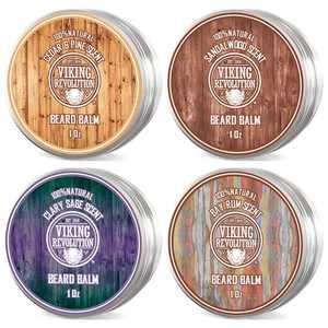 Viking Revolution 4 Beard Balm Variety Pack Sandalwood, Pine & Cedar, Bay Rum, Clary Sage (1oz Each)
