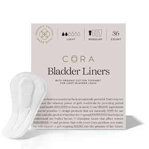 Cora 100% Organic Cotton Light Absorbency Regular Liner for Bladder Leaks - 36ct
