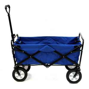 Mac Sports Collapsible Folding Steel Frame Outdoor Garden Utility Wagon, Blue