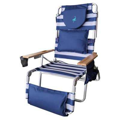 Ostrich Deluxe Padded 3-N-1 Outdoor Lounge Reclining Beach Chair, Striped Blue
