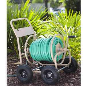 Liberty Garden 870 Industrial 4 Wheel 300 Foot Steel Frame Water Hose Reel Cart