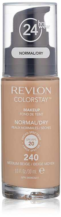 ColorStay Makeup For Normal/Dry Skin, Medium Beige, SoftFlex Makeup For Natural 240 NormalDry 220 with 1 Beige Medium ColorStay OuncePack Skin By Revlon