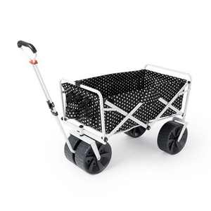 Mac Sports Heavy Duty Steel Frame Collapsible Folding 150 Pound Capacity Outdoor Beach Garden Utility Wagon Cart with 4 All Terrain Wheels, Black Dots