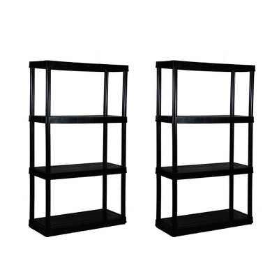 Gracious Living 4 Shelf Tier Medium Resin Indoor & Garage Shelf, Black (2 Pack)