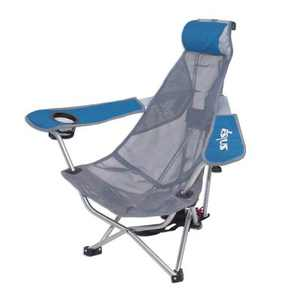 Kelsyus Mesh Folding Backpack Beach Chair with Headrest, Blue and Gray   80403