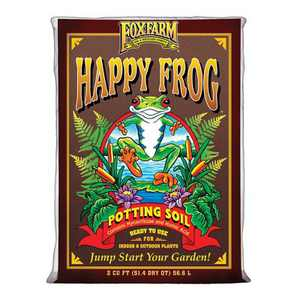 Foxfarm FX14047 Happy Frog 2 Cubic Feet/51.4 Quart Ph Adjusted Pre-Mixed Plant Garden Potting Soil Mix for Indoor and Outdoor Plants
