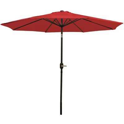 Aluminum Market Tilt Patio Umbrella 9' - Red - Sunnydaze Decor
