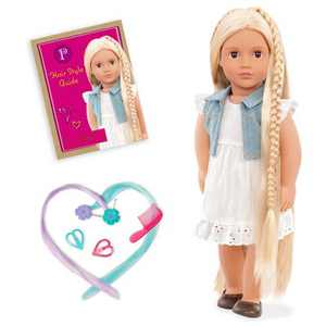 """Our Generation Phoebe with Hair Clips & Styling Book 18"""" Hair Grow Doll"""
