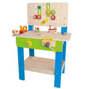 Hape Wooden Child Master Tool & Workbench Toy Pretend Play Builder Set, Kids 3+