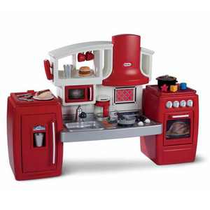 Little Tikes Cook 'n Grow Pretend Play Kids Toy Cooking Kitchen Play Set, Red